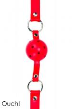Gag Ball rouge - Ouch!  : Ball Gag classique en cuir, métal et balle en ABS, coloris rouge, marque Ouch!