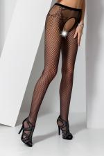 Collants ouverts S019 - Noir : Collants ouverts en résille noire avec un dessin de culotte tanga charmant.