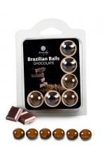 6 Brazilian Balls - chocolat : La chaleur du corps transforme la brazilian ball en liquide glissant au parfum chocolat, votre imagination s'en trouve exacerbée.