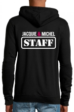 Veste à capuche Jacquie & Michel Staff - Veste à capuche noire J&M avec logo JACQUIE & MICHEL STAFF dans le dos et petit logo rond J&M sur le devant.