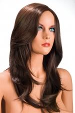 Perruque Olivia châtain - Perruque châtain aux cheveux longs ayants un aspect naturel. Elle tombe à merveille sur les épaules.