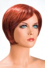 Perruque Daisy rousse - Perruque rousse aux cheveux courts en carré moderne à la nuque dégradée.
