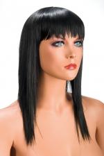 Perruque Allison brune - Perruque brune longue et à frange effilée pour changer de look.
